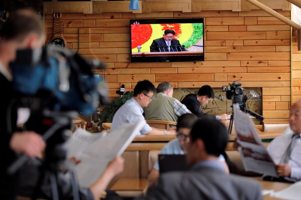 Foreign reporters have been forced to follow North Korean leader Kim Jong Un's speech to the Workers' Party of Korea congress through the televisions at their hotel in Pyongyang.