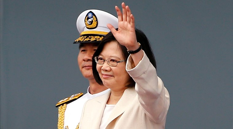 Taiwan's President Tsai Ing-wen delivers an acceptance speech during her inauguration ceremonies in Taipei, Taiwan