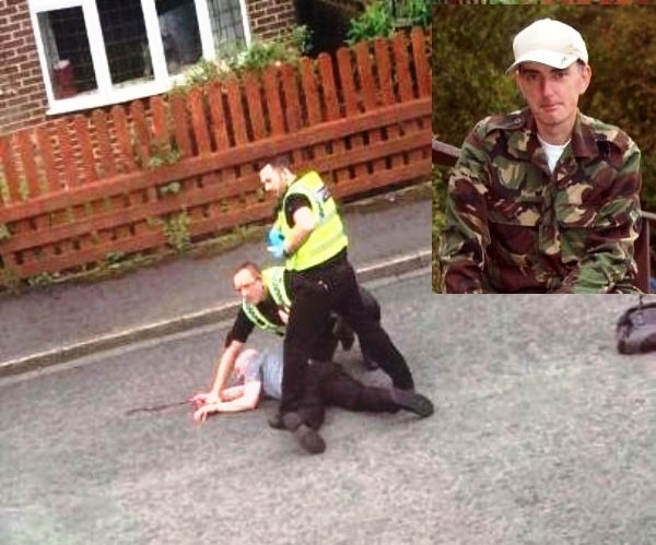 West Yorkshire Police in Birstall take down Thomas Mair.