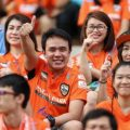 Chiangrai United FC's football fans give the thumbs up at Chiang Rai United Satduim