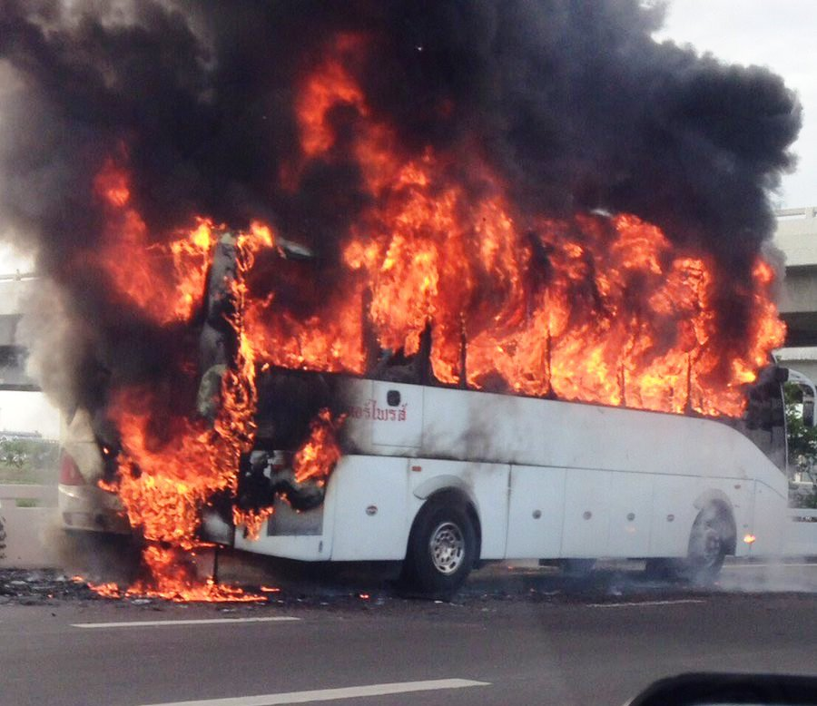 The fire was brought under control in 20 minutes. The bus was deemed a write-off.