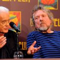 Jimmy Pageand Robert Plant of  Led Zeppelin at Press Conference