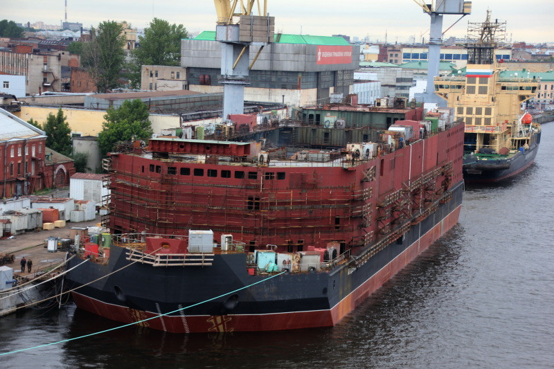 The Akademik Lomonosov, a floating nuclear power station, is launched at Baltiyskiy shipyard in St. Petersburg