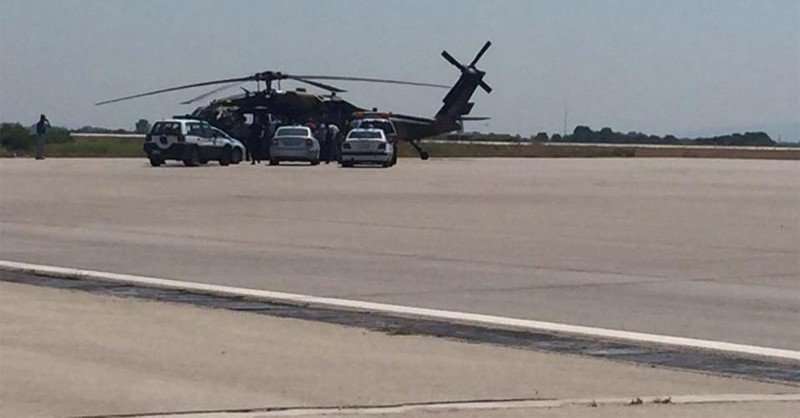 Turkish 'Black Hawk' military helicopter lands in Alexandroupoli, Greece.