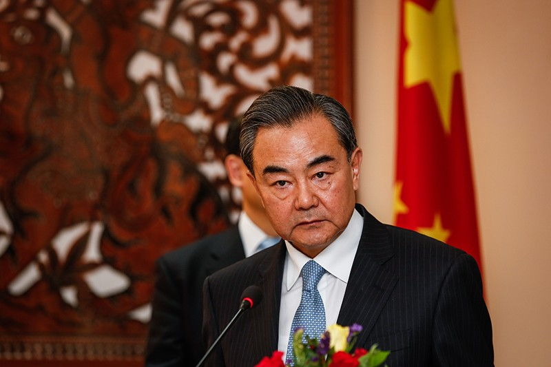 Chinese Foreign Minister Wang Yi speaks at a press conference.
