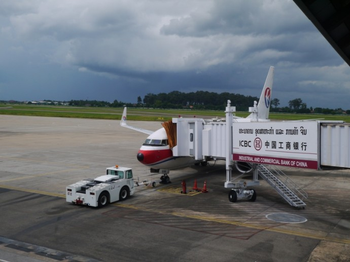 Air Plane from China Eastern Airlines loads at Airport.
