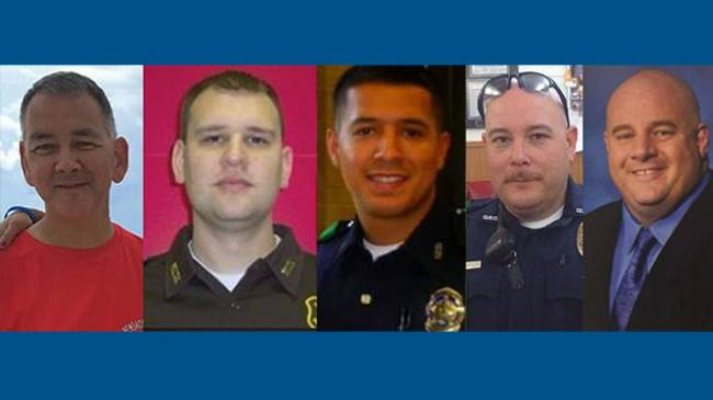 The Police officers killed were Brent Thompson,Patrick Zamarripa,Michael Krol,Lorne Ahrens,Michael Smith