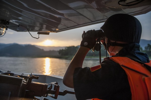Joint Mekong River Security Forces Guarding Against Drug Trafficking and Crime