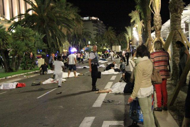 Wounded and dead bodies lie on the ground in Nice