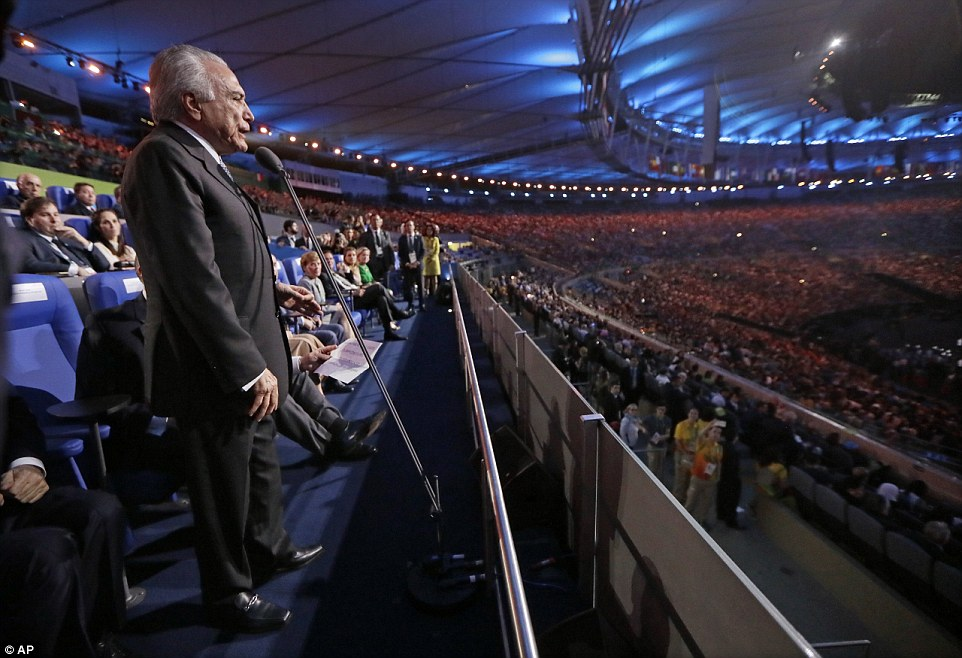 Brazil interim President Michel Temer, whose presence has sparked furious protests, gave an address at the Opening Ceremony