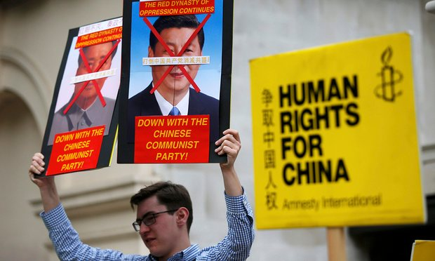 A protesters decried China's human rights record during president Xi Jinping's visit to London