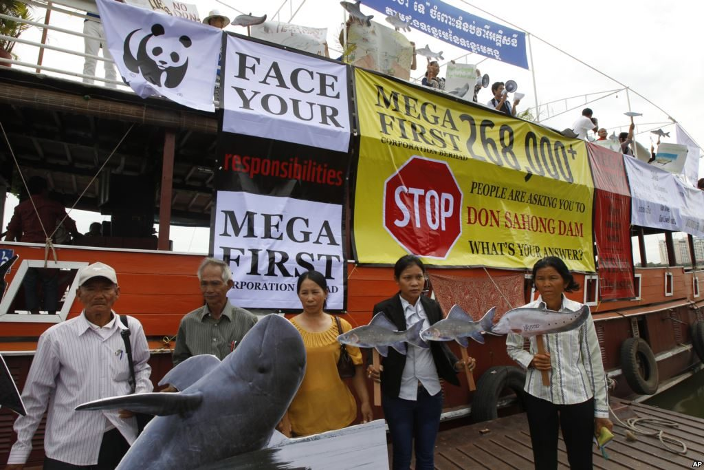 Non-governmental organization (NGOs) activists hold a cut-out of Mekong dolphin, left, and cut-out of other species during a protest against the Don Sahong dam.