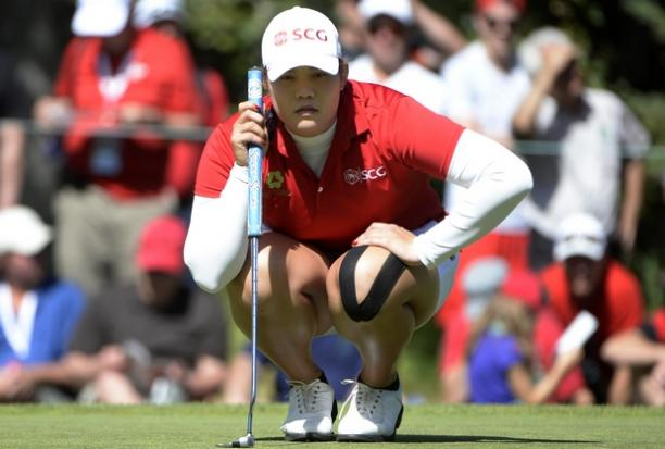Ariya Jutanugarn of Thailand lines up her putt on the eighth green during the second round of the Canadian Pacific Women's Open