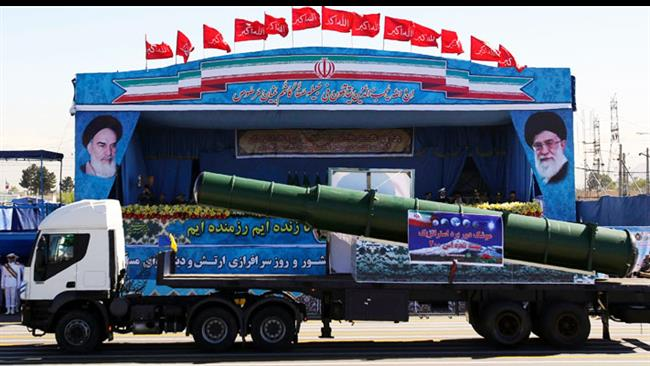 Parts of the newly-received S-300 missile defense batteries are paraded in Tehran