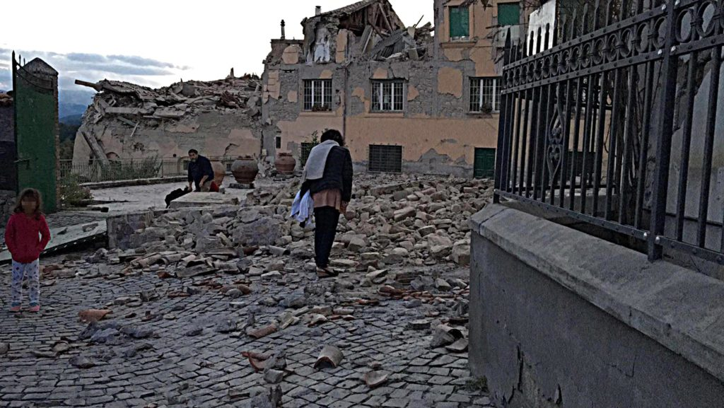 A general view shows damaged buildings after an earthquake hit central Italy, in Amatrice, Italy,