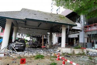 Damage is seen after a blast outside a hotel in the southern province of Pattani, Thailand August 24, 2016. REUTERS/Surapan Boonthanom
