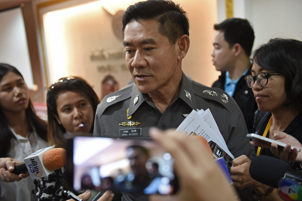 police commissioner Pol Gen Chakthip Chaijinda talks to Thai media in Bangkok.