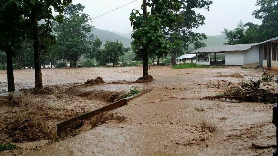 Following continuous heavy downpours in Chiang Rai, floodwater from a nearby mountain inundated many homes and agricultural fields