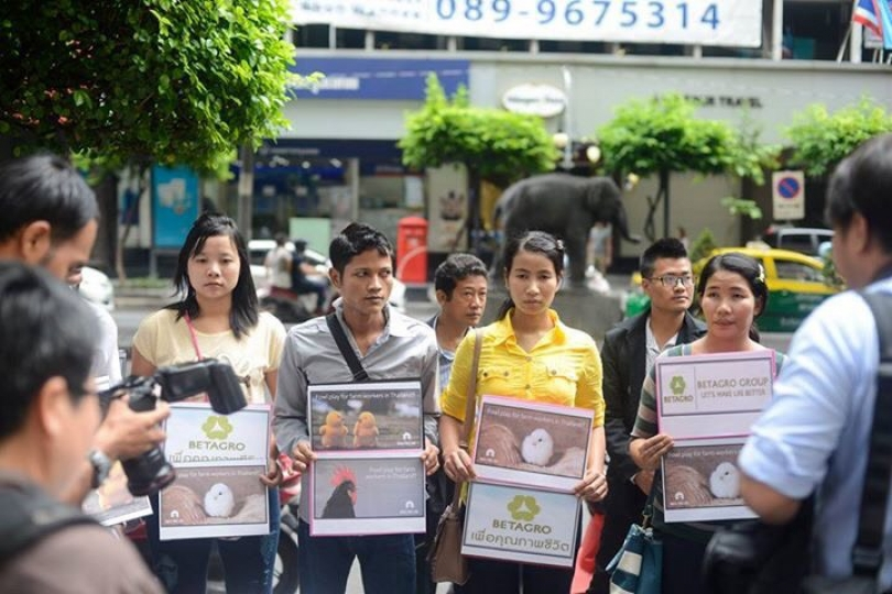 Myanmar workers seeking compensation from Betagro Group in Bangkok.