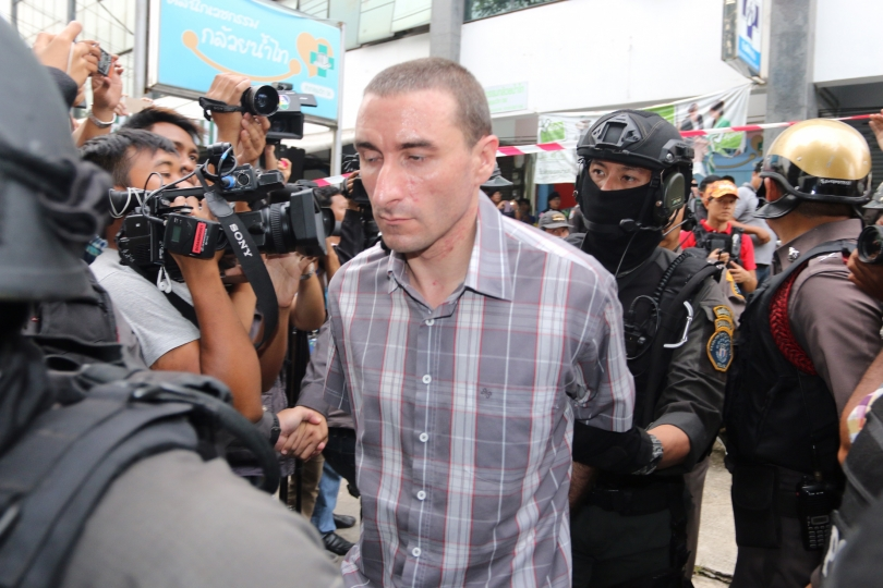 American Aaron Thomas Gabel, 33,being led into court by police in Bangkok