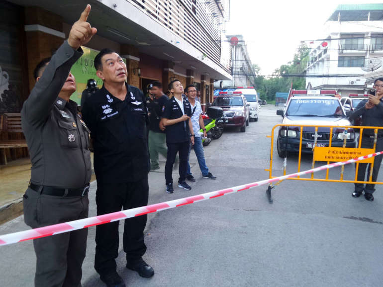 Tourist Police and Royal Thai Police at scene of jump.