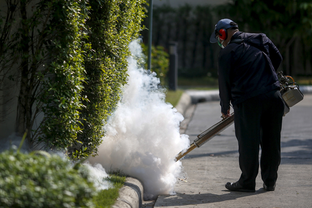 A worker sprays insecticide for mosquitos at a village  bracing for the mosquito-borne Zika virus.