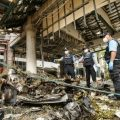 A forensics unit inspects the site of a deadly bomb blast outside a hotel in the southern province of Pattani. (AFP/Tuwaedaniya Meringing)
