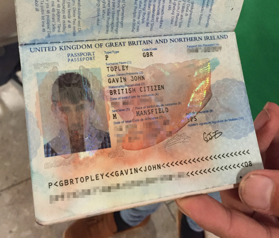 The issue arose after his hand gel leaked in his bag meaning his passport became smudged
