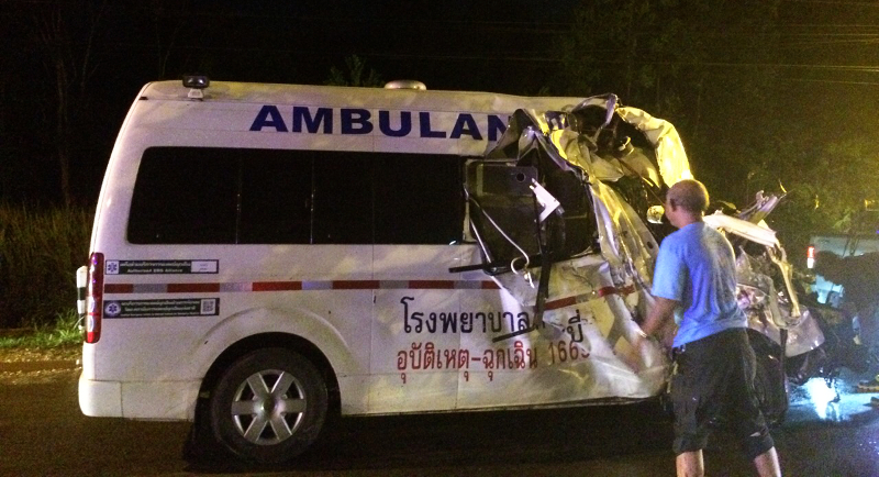 Two nurses from the Hospital and the driver were injured, the patient heading to the hospital was killed