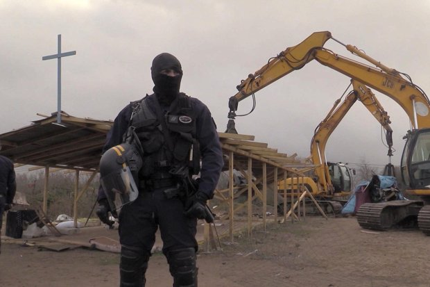 Bulldozers moved in at dawn to demolish a mosque and a church in the Jungle, the makeshift camp near Calais that is home to an estimated 6,000 refugees and migrants.