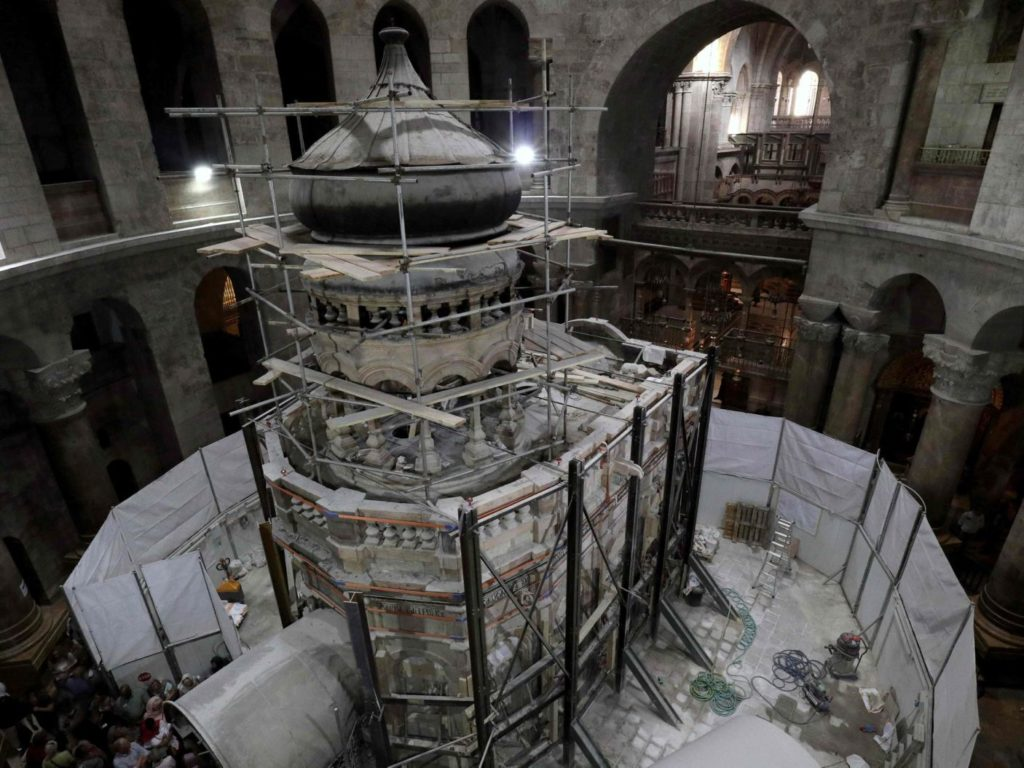 Greek preservation experts work to strengthen the Adicule surrounding the Tomb of Jesus, where his body is believed to have been laid, as part of conservation work done by the Greek team in Jerusalem Gali Tibon, AFP read more: http://www.haaretz.com/israel-news/.premium-1.749780