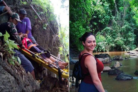 Hannah Gavios (pictured), 23, from New York, broke her back and lay helpless trapped on rocks while Apai Ruangwong