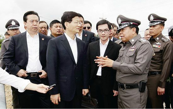 Chinese State Councilor and Minister of Public Security Meng Jianzhu arrived Thursday in Chiang Saen, Thailand where 13 Chinese sailors were slain last October, for an inspection tour