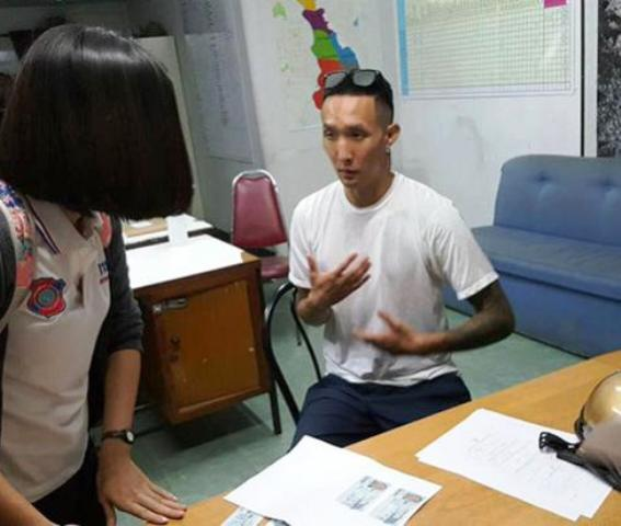 Gidon Tounglee, 30, explains what sent him into such a rage that he had to vent his frustration by slashing all four tyres on a stranger's car parked at a shopping mall in Chiang Mai on Thursday night. (Photo by Cheewin Sattha)