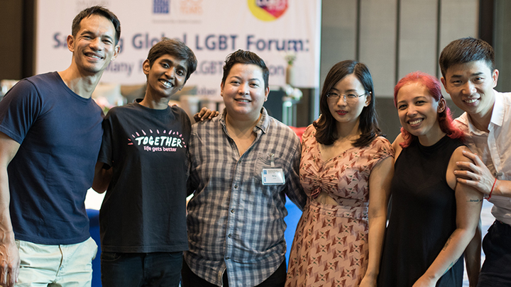 B-change Founder Laurindo Garcia with B-change filmmakers and contributors taking part in the Salzburg Global LGBT Forum.