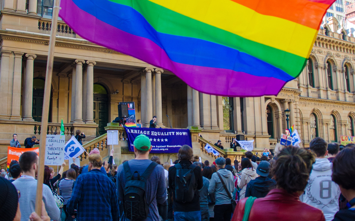 Protesters at a marriage equality rally outside Sydney Town Hall last year. Photo: AFP