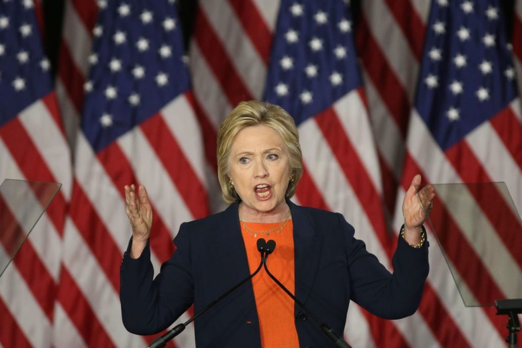 Democratic presidential candidate Hillary Clinton speaks at a campaign rally in Balboa Park on June 2, 2016 in San Diego, California.