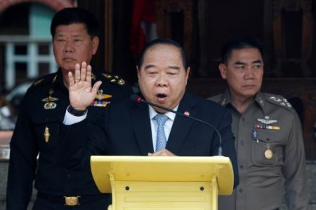 Thailand's Deputy Prime Minister and Defence Minister Prawit Wongsuwan speaks during a news conference.