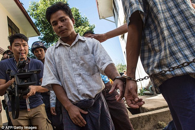Tun Naing arrives at a Yangon court - he pleaded guilty to the murder of three young children - Photo AFP
