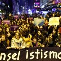 Turkish women stage a protest in the Kadikoy neighbourhood of Istanbul after a bill was proposed that would overturn men's convictions for child sex assault if they married their victim. Picture: AFP