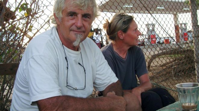 Image caption Jurgen Kantner and his wife Sabine Merz went back to Somaliland in 2009 to collect their boat - Photo AFP