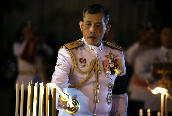 Thailand's Crown Prince Maha Vajiralongkorn attends an event commemorating the death of his father King