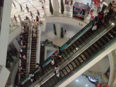 The man fell from the second floor of the popular mall all the way to the basement-level