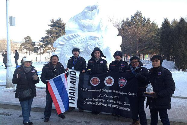 Student's from Thailand Brave Freezing Temperatures to Win First Prize in Snow Sculpture Contest