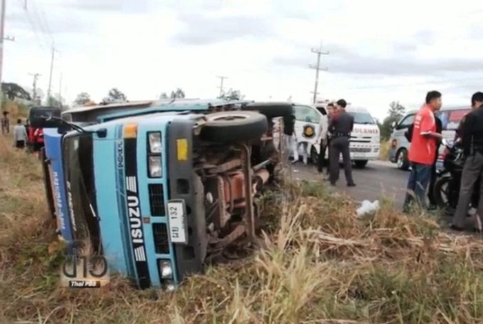 School Bus Carrying 40 Students in Khon Kaen Overturns Seriously Injuring Nine Students