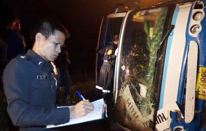 Inter-provincial Bus Crashes in Trat, Thailand, Killing 3 Passengers and Injuring 20 More..