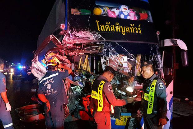 Bus Driver killed, 30 Injured When Bus Rear-ends Transport Truck in Ayutthaya