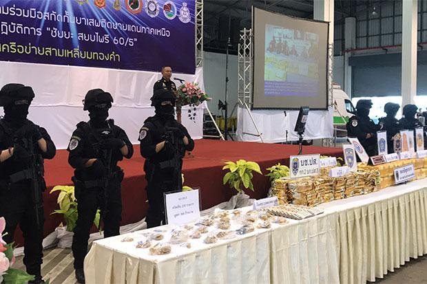 Thai Authorities Display Mass Quantity of Drugs Seized Over the Past 10 Months in Mae Sai, Chiang Rai