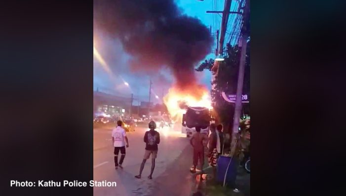 Tourist Bus Carrying 36 Tourists Catches Fire in Phuket Thailand