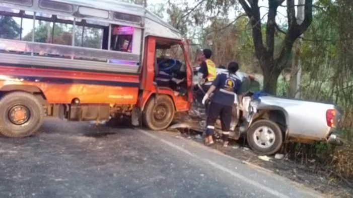 2 Dead after Pickup Collides with School Bus in Central Thailand